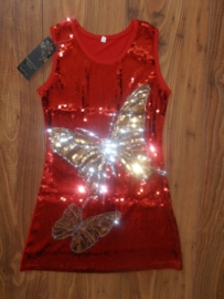 Lief rood glitterjurkje met gouden/zilveren vlinders