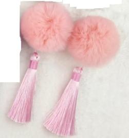 Superleuk setje èchte chinese haarclips roze bol met kwastje