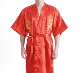 Stoere korte rode kimono met draak aan de achterzijde