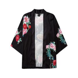 Haori met kleurrijke pauw en bloemen zwart