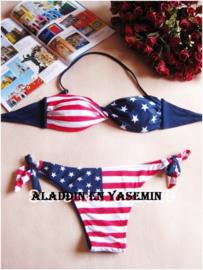 Stars and stripes halter/bandeau bikini maat 38/40 (model 1)