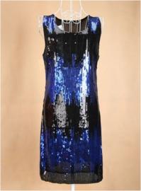 Geweldig glitterjurkje zwart/blauw damesmaat XS/S/M