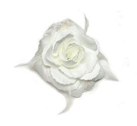 Haarelastiek / broche met prachtige witte roos met glitter en veertjes