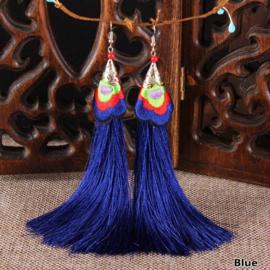 Geweldige franje oorbellen 12 cm kobaltblauw