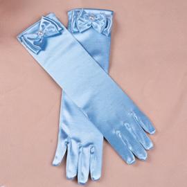 Gala handschoentjes met strik voor meisje 4-8 jaar lichtblauw