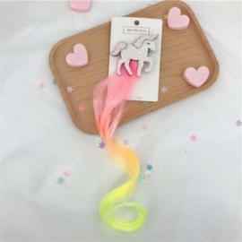 Haarclip UNICORN fluor roze/geel