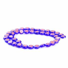 Glaskraal Millefiori donkerblauw/rood 10 mm