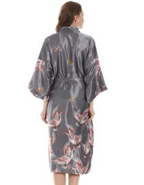 Mooie dameskimono met kraanvogels zilvergrijs