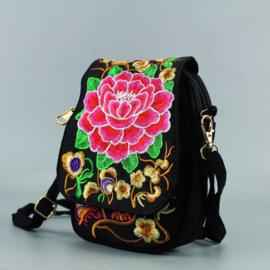 Leuk èn handig geborduurd schoudertasje/telefoontasje met dubbele rits rode lotusbloem