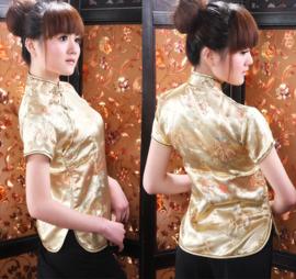 Mooi gouden getailleerd chinees blousje draken motief