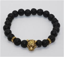 Kralen armband Lavasteen met gouden tijger