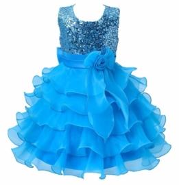 Superfeestelijke jurk met pailletten lijfje met gelaagde rok met strik turquoise maat 140/146