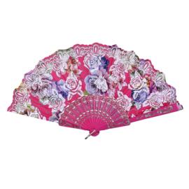 Prachtige handwaaier van stof met grote bloemen fuchsia