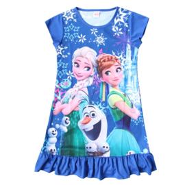 Geweldig jurkje Frozen Elsa Anna en Olaf donkerblauw