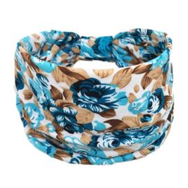 Mooie brede haarband  roos blauw