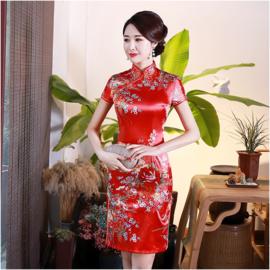 Bijzonder mooi Chinees jurkje rood met bloemenprint