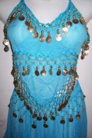 Leuke turquoise Oosterse buikdansset topje met puntrok met gouden muntjes