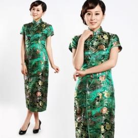 """Schitterende lange Chinese """"10 button"""" jurk  groen"""