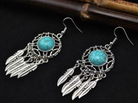 """Prachtige grote oorbellen """"dromenvanger""""met turkoois steen en zilveren veertjes"""