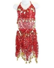 Superleuk glitter buikdanssetje rood met gouden muntjes 116-128