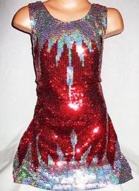 Glitter pailletten jurkje rood met ijspegels maat 92 t/m 116