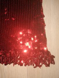 """Geweldig paillettenjurkje """"Salsa"""" met glitterfranje rood maat 34/36/38"""