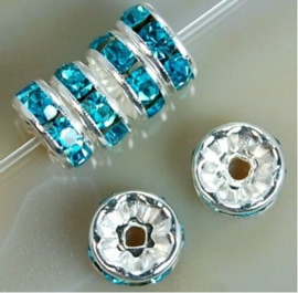 Tussenkraal strass turquoise 1x8 mm