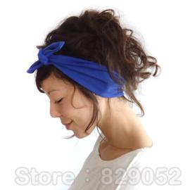 Superleuke haarband met strik effen donkerblauw damesmaat