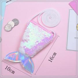 Superleuk glitter pailletten tasje zeemeermin lichtroze/wit