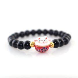 Supercute armbandje van obsidiaankralen met porseleinen Lucky cat