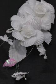 Patentspeld met witte rozen en glitter