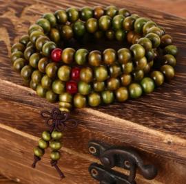 Mala unisex gebedsketting/armband sandalwood groen