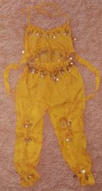Leuk kinder harempakje met rinkelende gouden muntjes geel 116-134