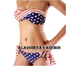 Stars and stripes halter/bandeau bikini