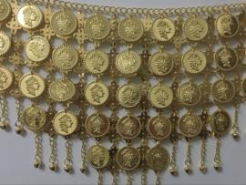 Oriëntaalse gouden heupketting met muntjes en belletjes