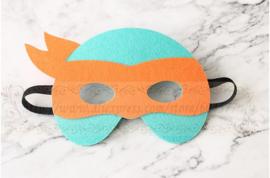 Geweldig leuk en stevig masker ninja turtle van vilt oranje
