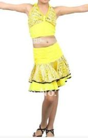 Superleuk LATIN danssetje topje met rokje geel met zilver