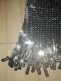 Geweldig paillettenjurkje met glitterfranje zilver maat 34/36/38