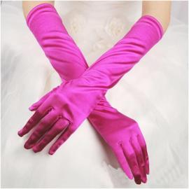 Lange gala handschoenen meiden/damesmaat fuchsia