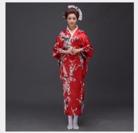 Beeldschone Geisha kimono dress met obi rood met pauwenprint