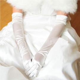Lange gala handschoenen meiden/damesmaat wit