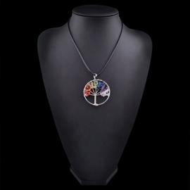 Prachtige amulet ketting Tree of Life Chakra steentjes