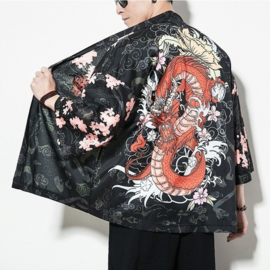 Haori zwart met rode draak en roze bloemen