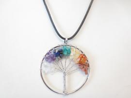 Prachtige amulet ketting Tree of Life mix steentjes