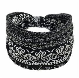 Mooie brede haarband zwart/wit