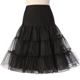Zwarte petticoat met brede elastische tailleband damesmaat S/M/L