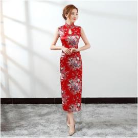 Prachtige lange mouwloze Chinese jurk rood met bloemen