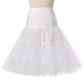 Witte petticoat met brede elastische tailleband damesmaat S/M/L