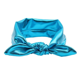 Superleuke haarband met strik glans turquoise kindermaat