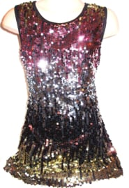 Mooi in kleur overlopend glitter pailletten jurkje roze/zilver/goud mt 92 t/m 110
